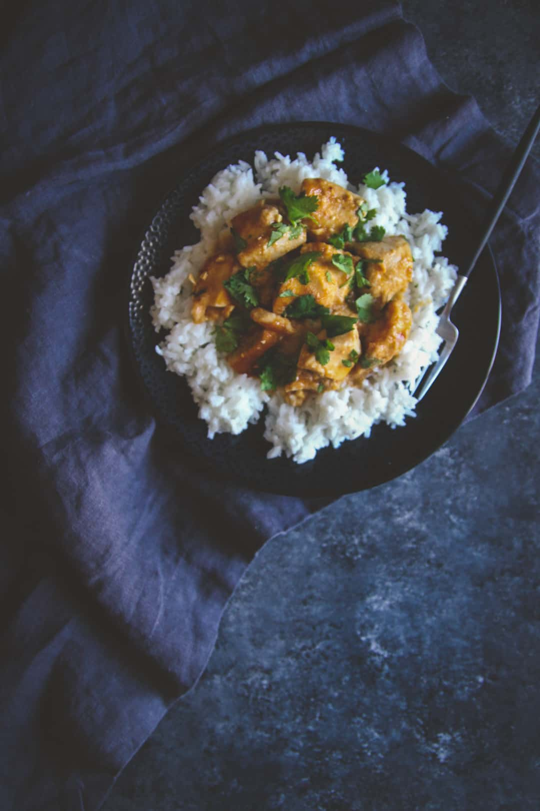 The best peanut ginger chicken over rice