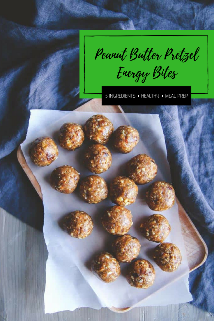 5 ingredient peanut butter pretzel energy bites - healthy snack for meal prepping from @Sweetphi