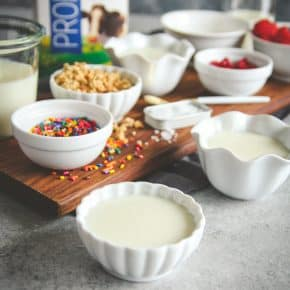 Healthy pudding cups with probiotic milk, healthy snack recipe that the whole family will love