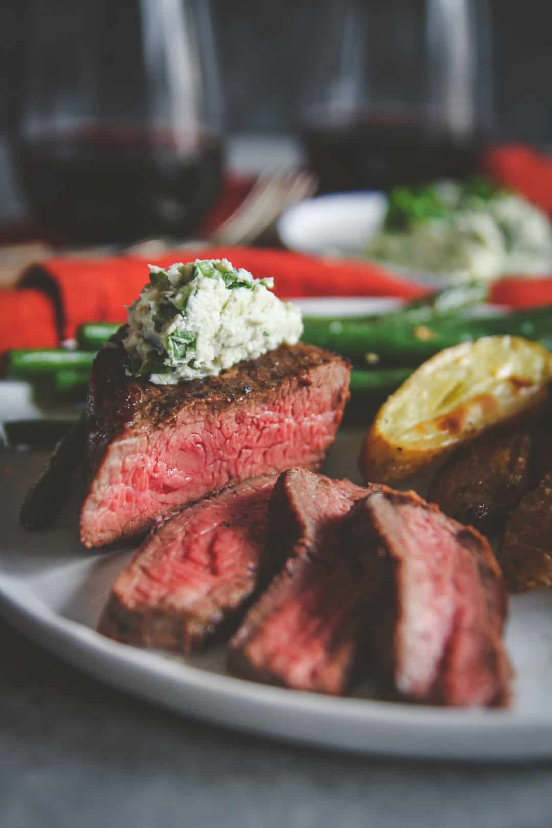 Steak with blue cheese compound butter from Home Chef meal delivery