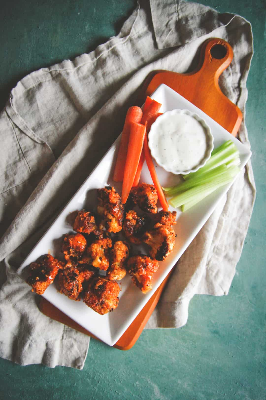 The best buffalo cauliflower nuggets, vegetarian party appetizer recipe, 5 ingredient appetizer recipe