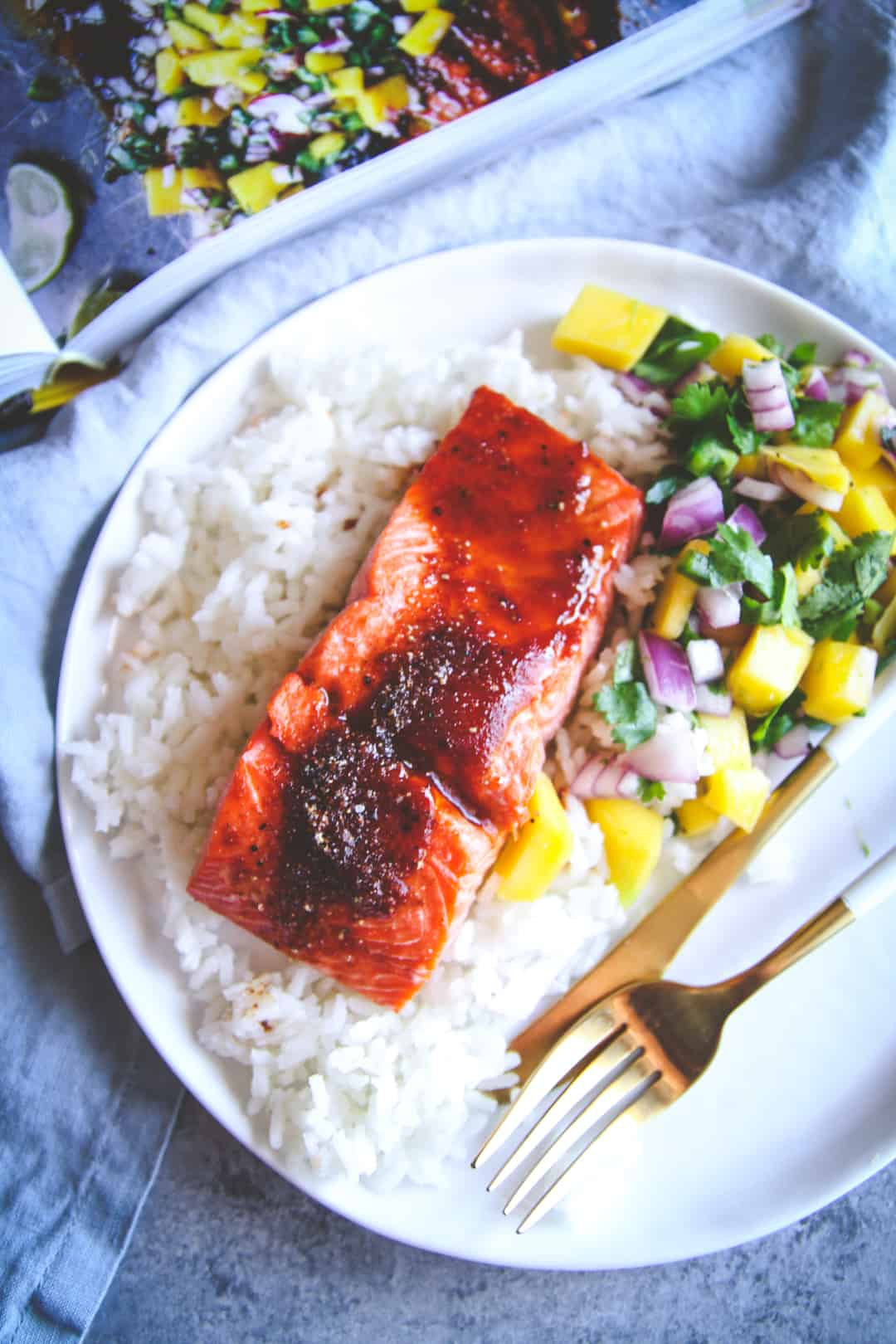 The best ever baked BBQ salmon with mango salsa