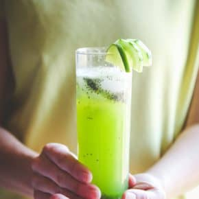 cucumber limeade with chia seeds recipe, a healthy delicious green drink recipe