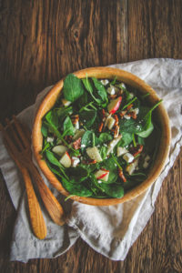 Spinach salad and dressing recipe, spinach salad with apple pear feta and homemade dressing, spinach salad with homemade dressing