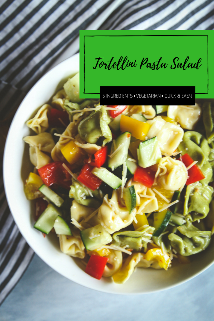 The best 5 ingredient tortellini pasta salad, the perfect summer BBQ potluck vegetarian side dish