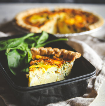Make ahead freezer meals quiche recipe, make ahead freezer quiche, vegetarian or prosciutto meal prep quiche recipes, meal prep recipes