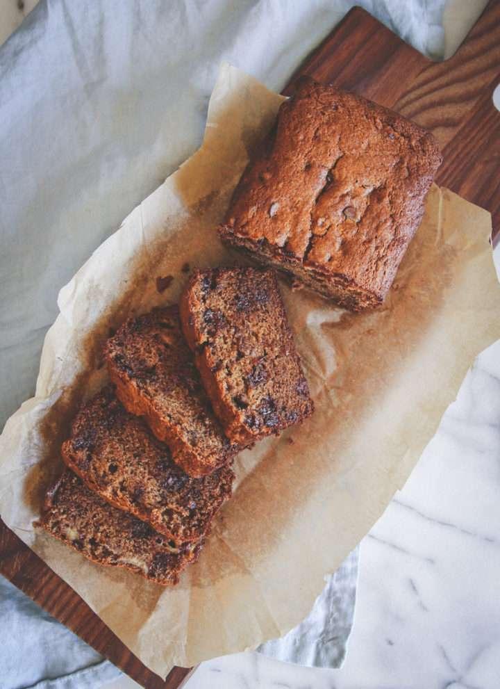 Whole wheat banana bread and muffins recipe, banana bread made with whole wheat flour, whole wheat banana chocolate chip bread