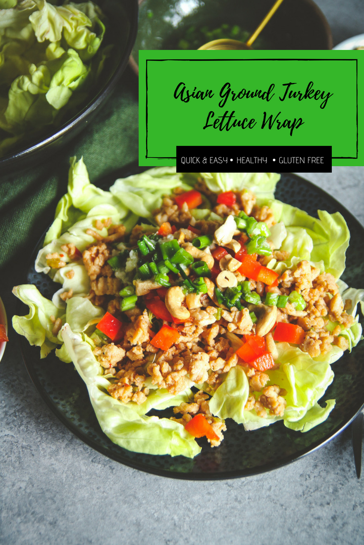 Easy healthy lunch recipe, Asian lettuce wrap salad, ground turkey lettuce wrap salad recipe