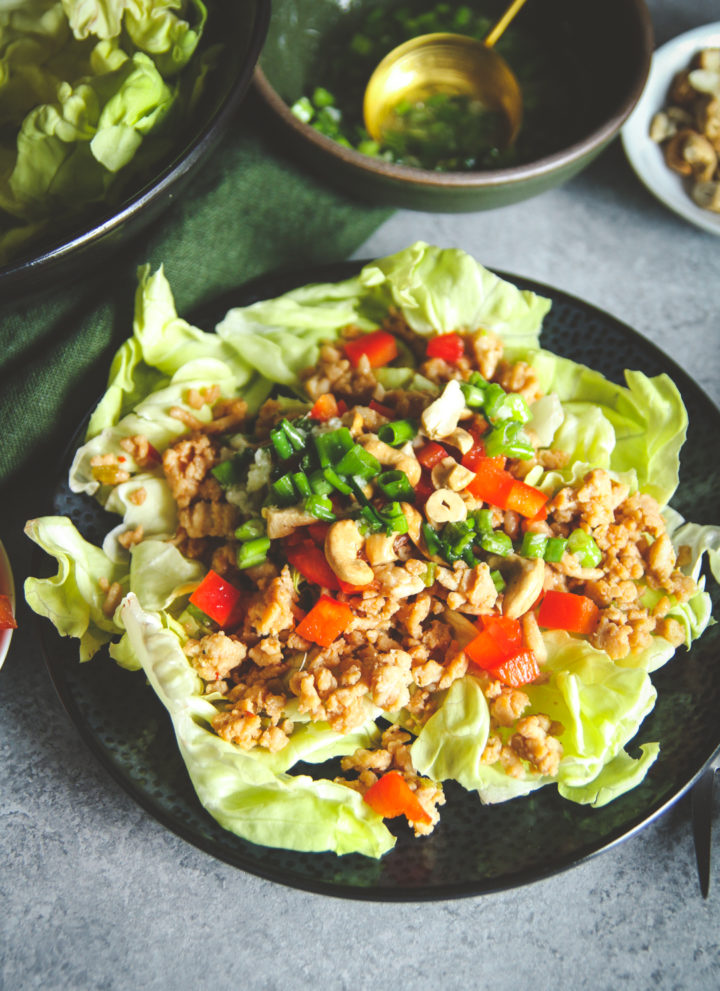 Easy healthy lunch recipe, ground turkey salad recipe, Asian lettuce wrap salad, ground turkey lettuce wrap salad recipe