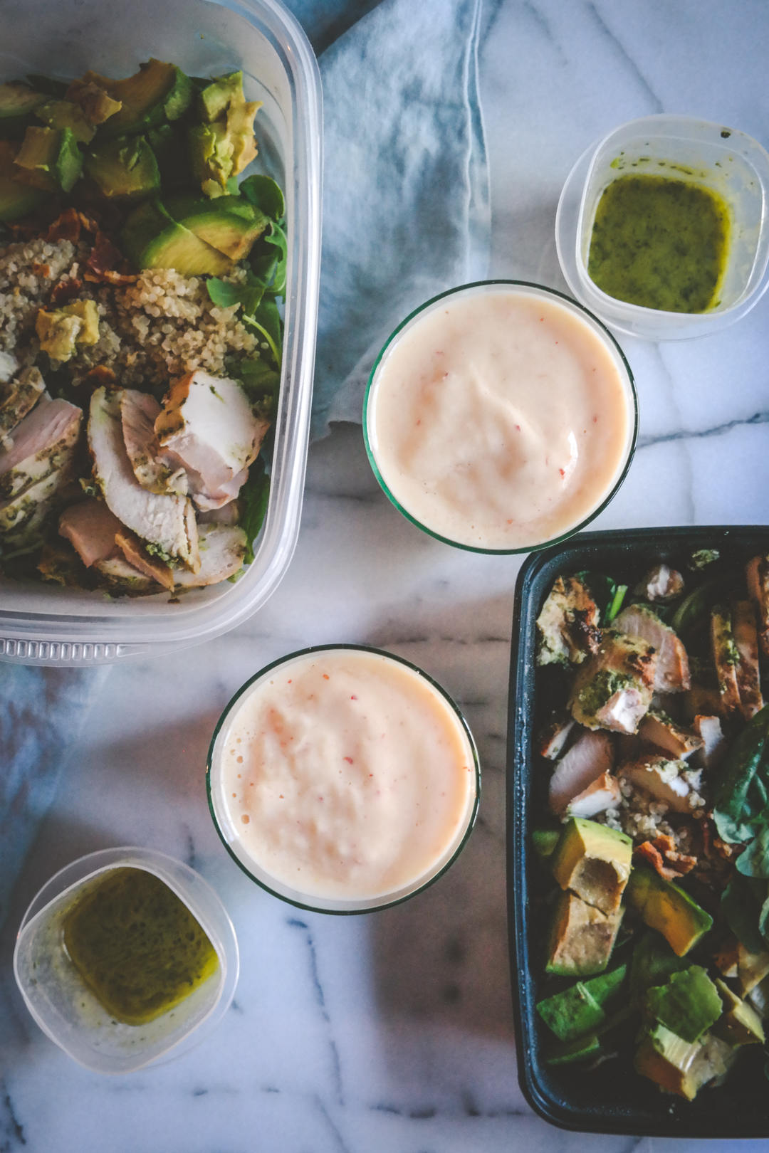Magic green sauce chicken salad and smoothie recipe