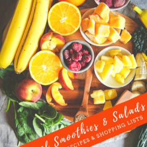Summer of smoothies and salads - tips tricks and recipes and meal plans and shopping lists for smoothies and salads, meal prepping, smoothies, recipes