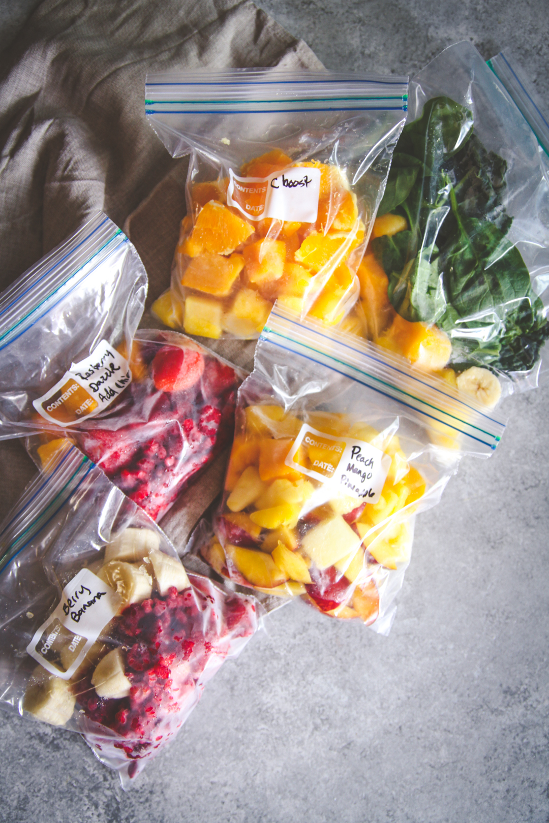 Make ahead smoothie bags, smoothies, salads
