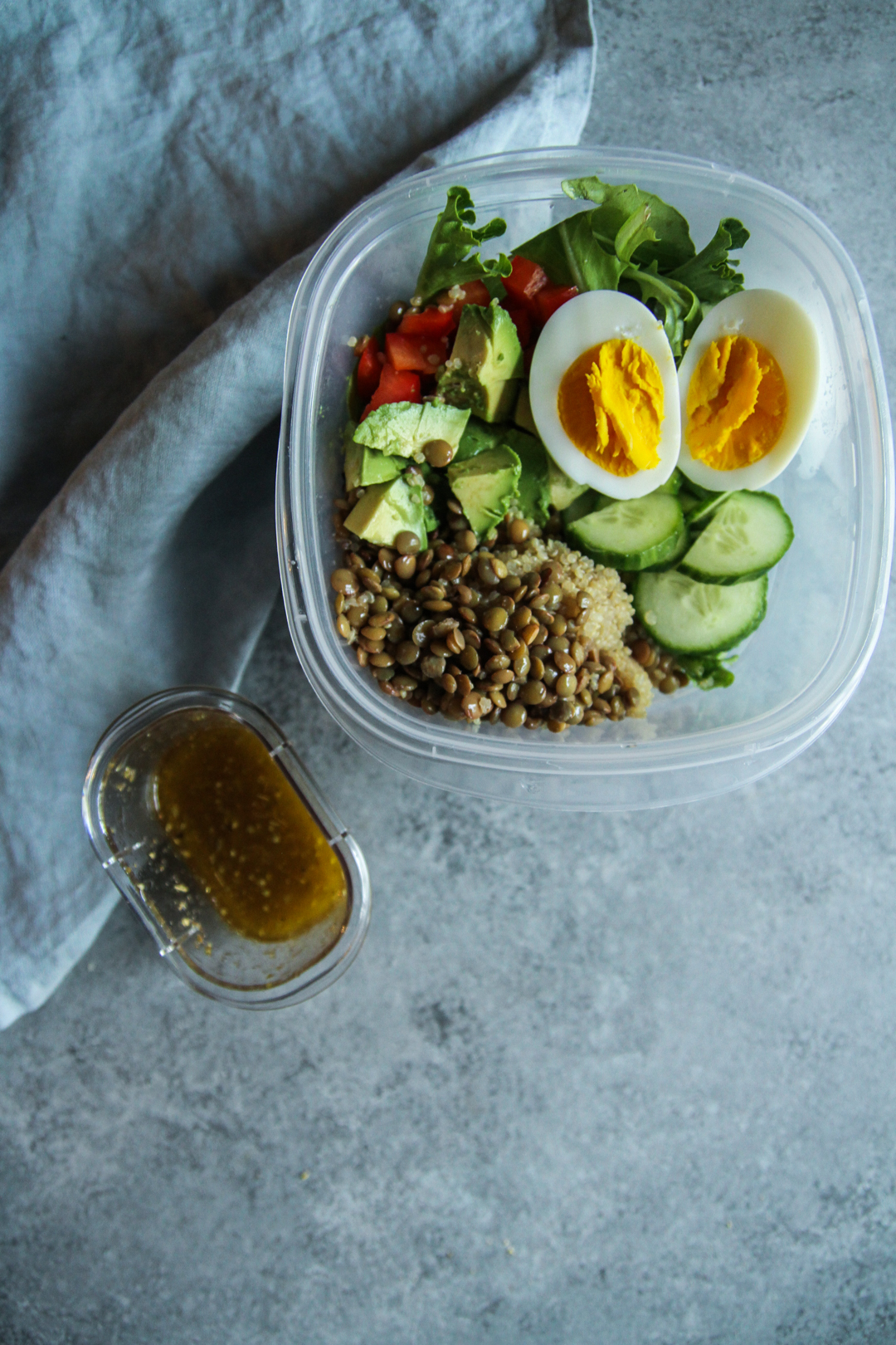 The most delicious lentil veggie protein salad