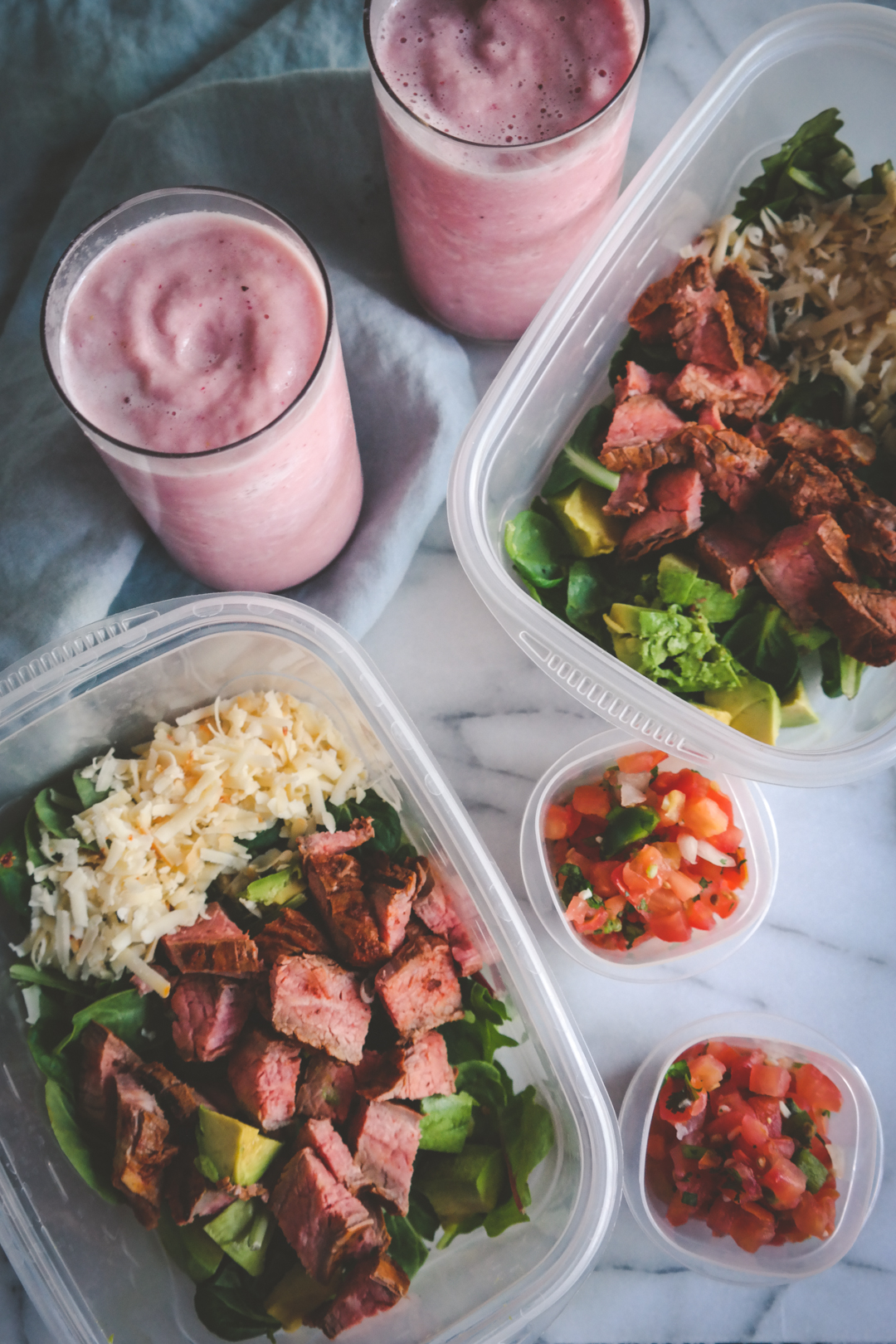 steak salad and strawberry watermelon smoothie