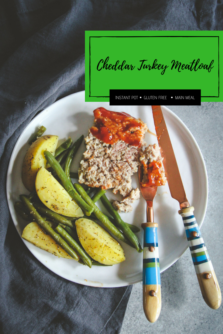 Cheddar turkey meatloaf made in an instant pot
