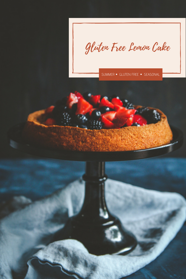 Gluten free lemon berry cake made with almond flour, gluten free lemon cake