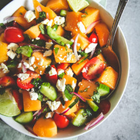 Summer melon cucumber tomato feta salad, summer fruit and feta salad, melon cucumber salad with a honey dressing