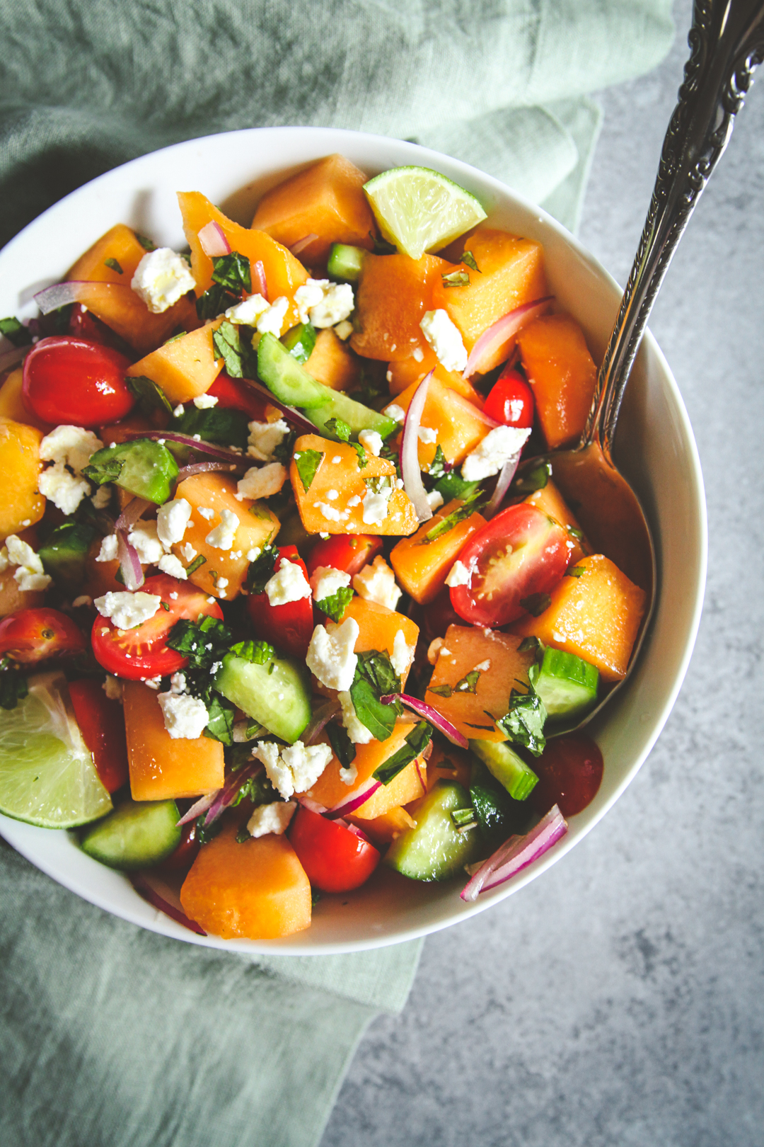 The most amazing summer melon cucumber tomato feta salad