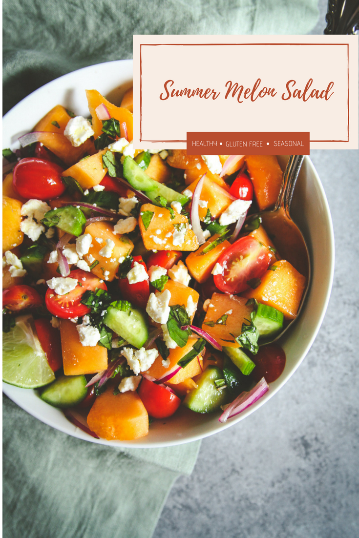 Summer melon cucumber tomato feta salad, summer fruit and feta salad, melon cucumber salad with a lime and maple syrup dressing