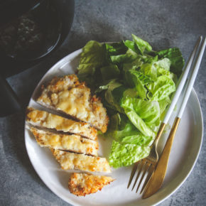 5 ingredient air fryer cheesy crispy chicken dinner recipe, air fryer crispy chicken dinner recipe, air fryer dinner recipe, air fryer chicken, crispy cheesy air fryer chicken