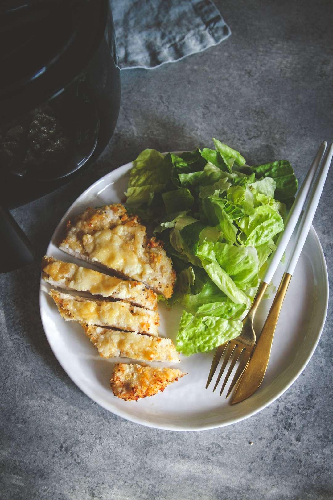 The best air fryer cheesy crispy chicken dinner
