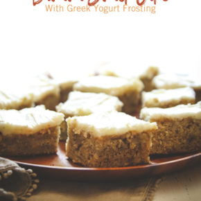 Banana Snack Cake with Greek Yogurt Frosting Recipe