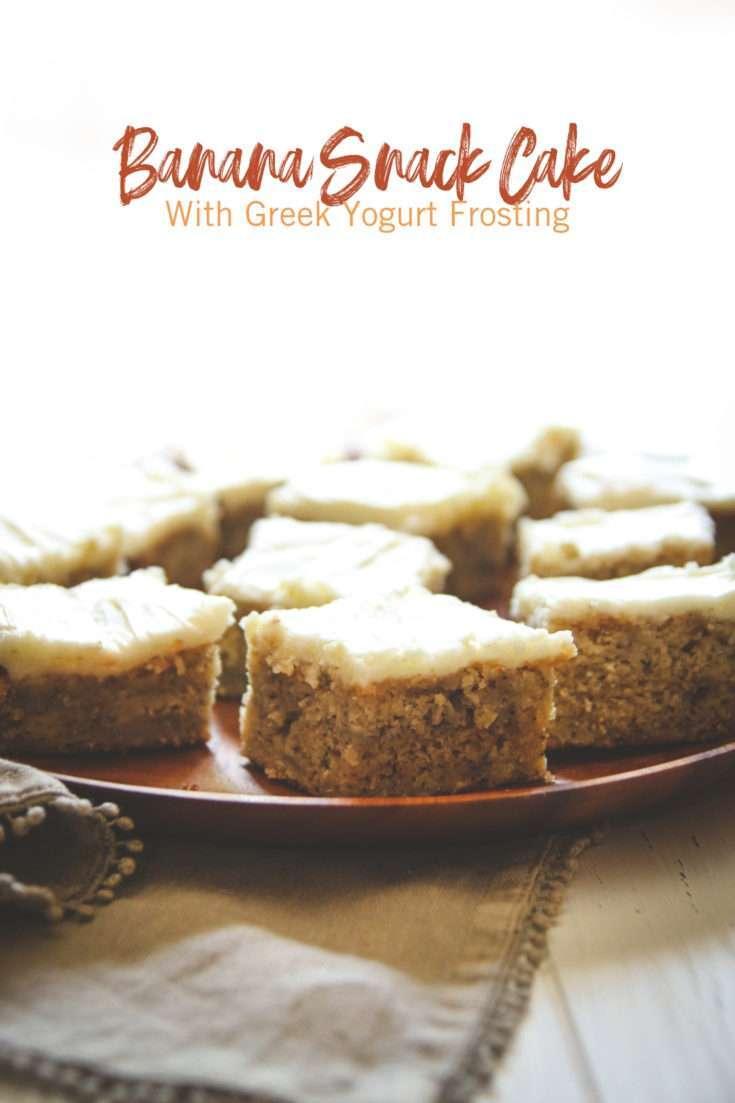 Banana Snack Cake with Greek Yogurt Frosting Recipe