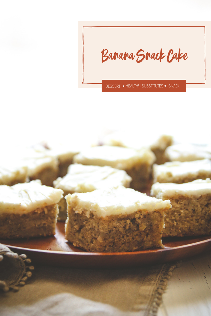 Banana snack cake with Greek yogurt frosting, how to make Greek yogurt frosting, banana cake made with Greek yogurt, banana snack cake recipe, the best frosted banana snack cake recipe