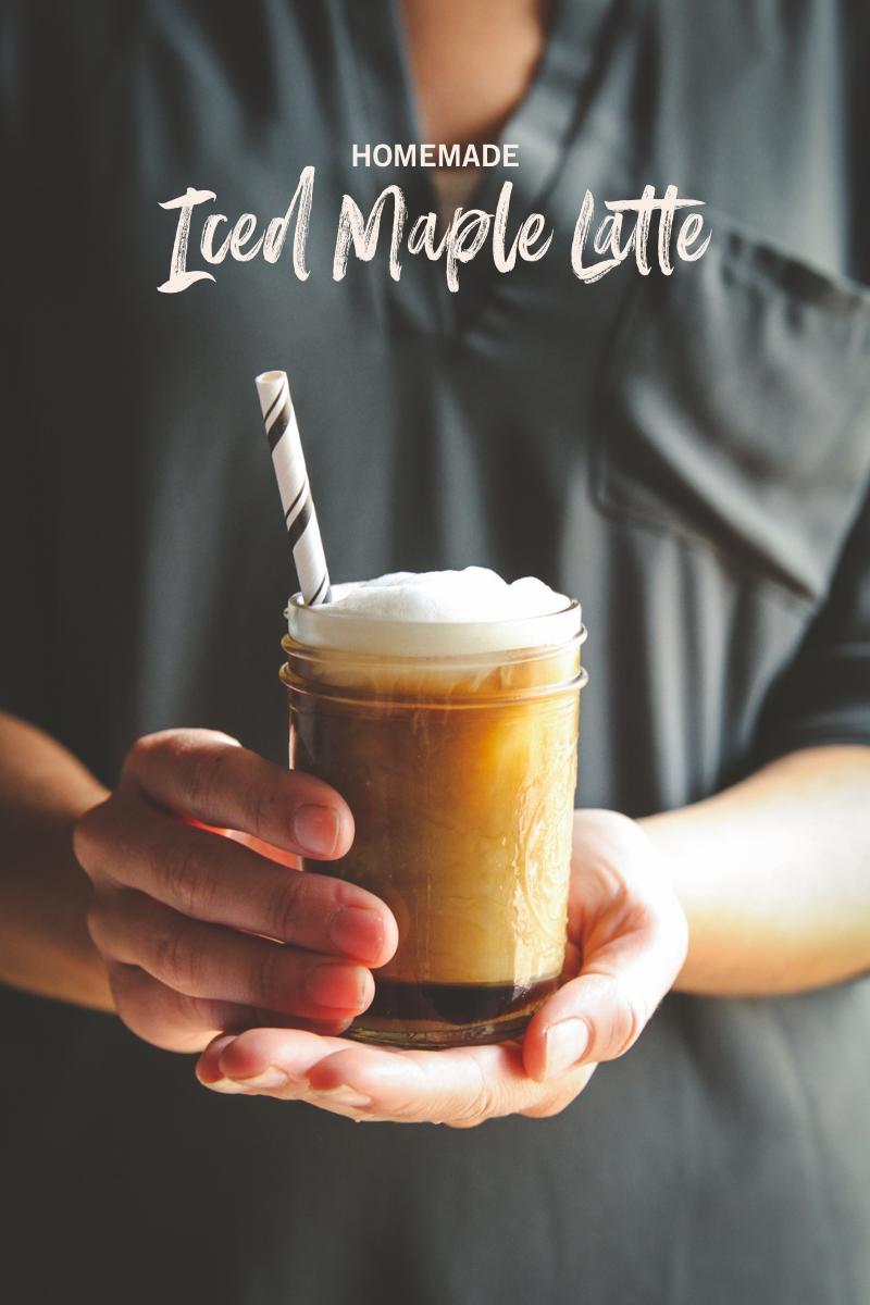 Homemade iced maple latte