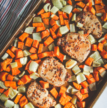 Sheet pan pork chops and sweet potato fennel dinner recipe, easy sheet pan dinner, one pan meal, pork chops one pan dinner recipe