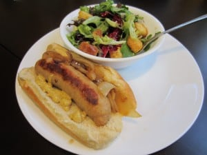 Chicken Beer Brats with Side Salad