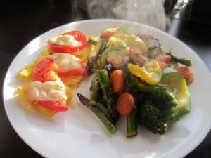 Farmers Market Vegetables and Polenta Cakes