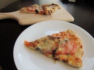 Basil Sun Dried Tomato Mozzarella Pizza and Goat Cheese Pizza