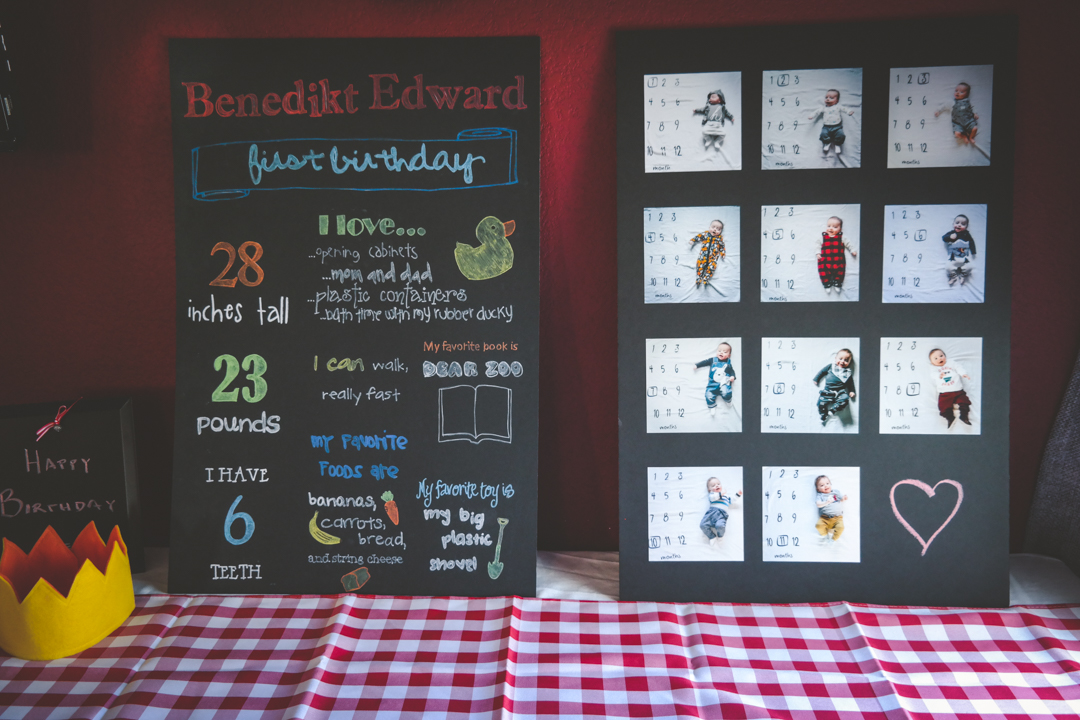 Simple first birthday decor and diy chalkboard with stats