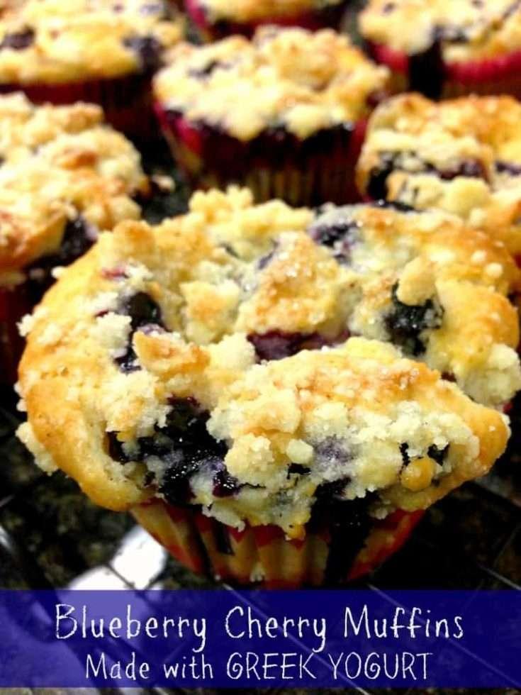 Blueberry Cherry Muffins made with Greek Yogurt