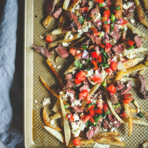 Carne asada recipe, Skinnytaste one and done recipe, skinnytaste cookbook recipe, one pan sheetpan meal, loaded steak fries, healthy steak fries recipe