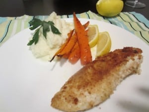Mashed Cauliflower with Roasted Carrots and Panko crusted Tilapia