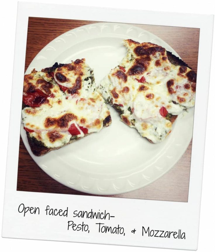 Open faced Pesto, Tomato, and Mozzarella Sandwich
