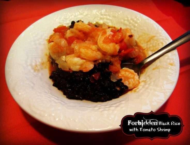 Forbidden Black Rice with Tomato Shrimp