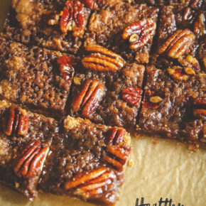Healthy pecan pie bars, healthy holiday dessert alternative, pecan pie dessert bar, healthy Thanksgiving dessert
