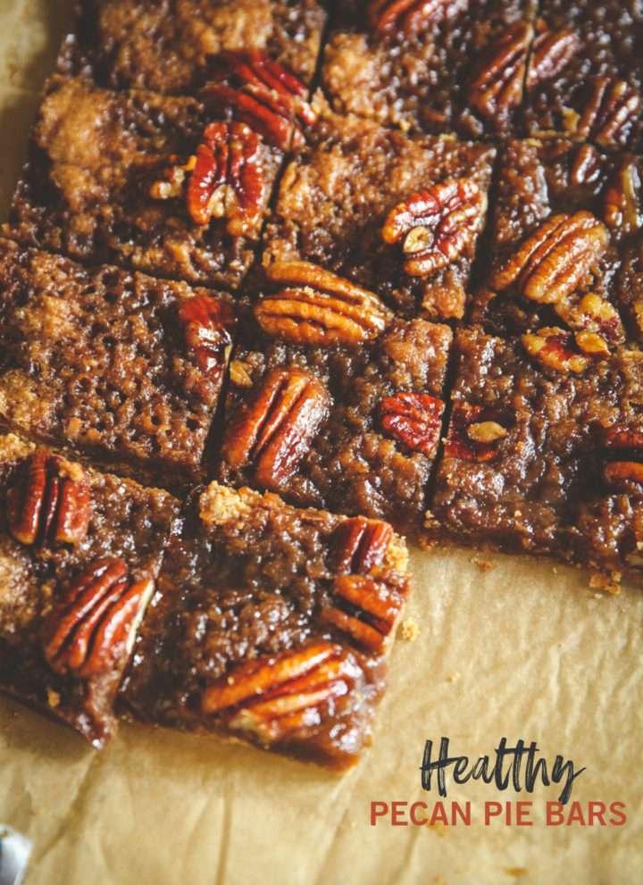Healthy pecan pie bars, healthy holiday dessert alternative, pecan pie dessert bar, healthy Thanksgiving dessert