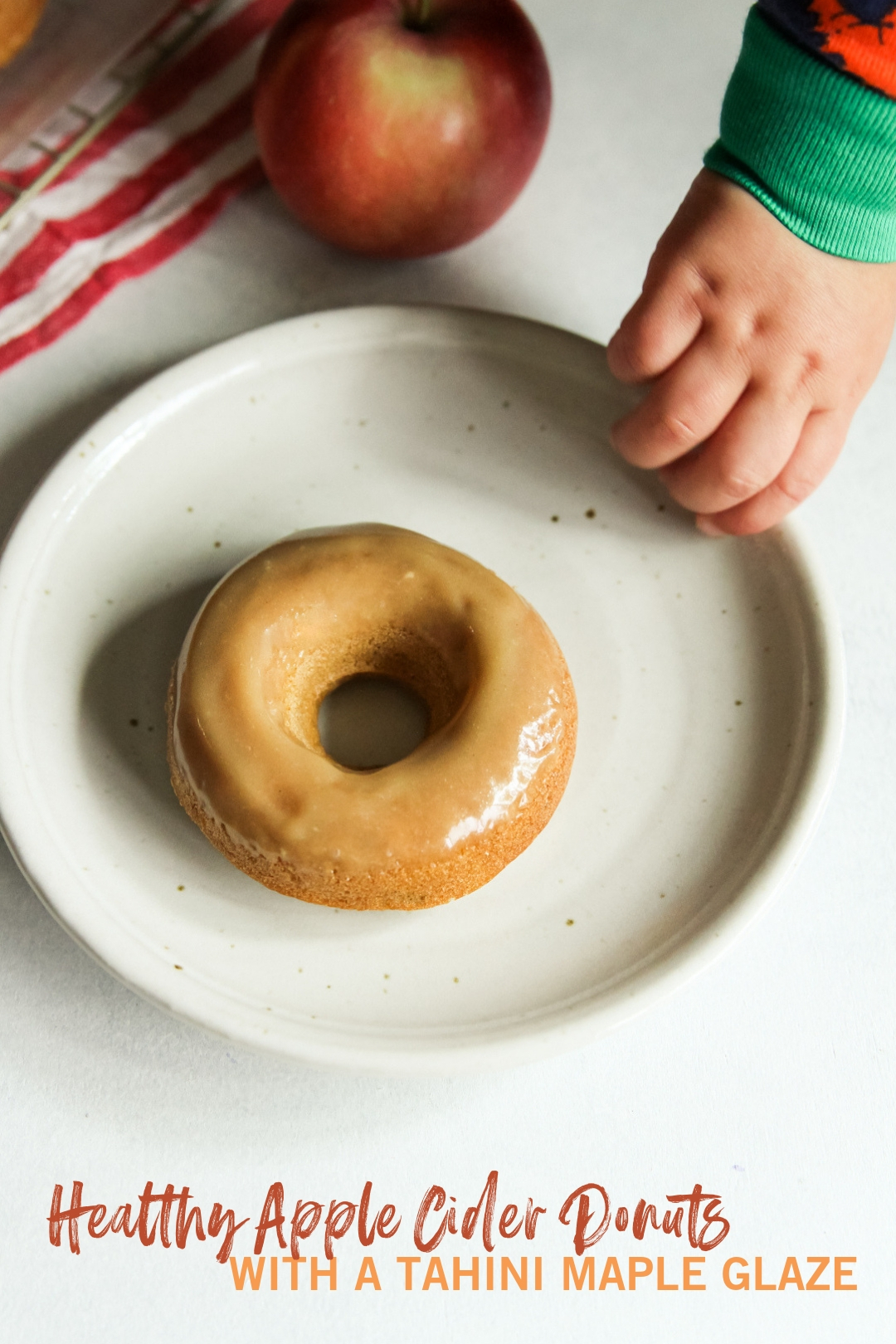 Healthy apple cider donuts with a tahini maple glaze