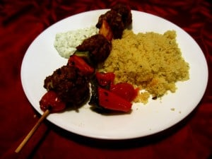 Lamb Meatball Kabobs with Yogurt Sauce and Couscous