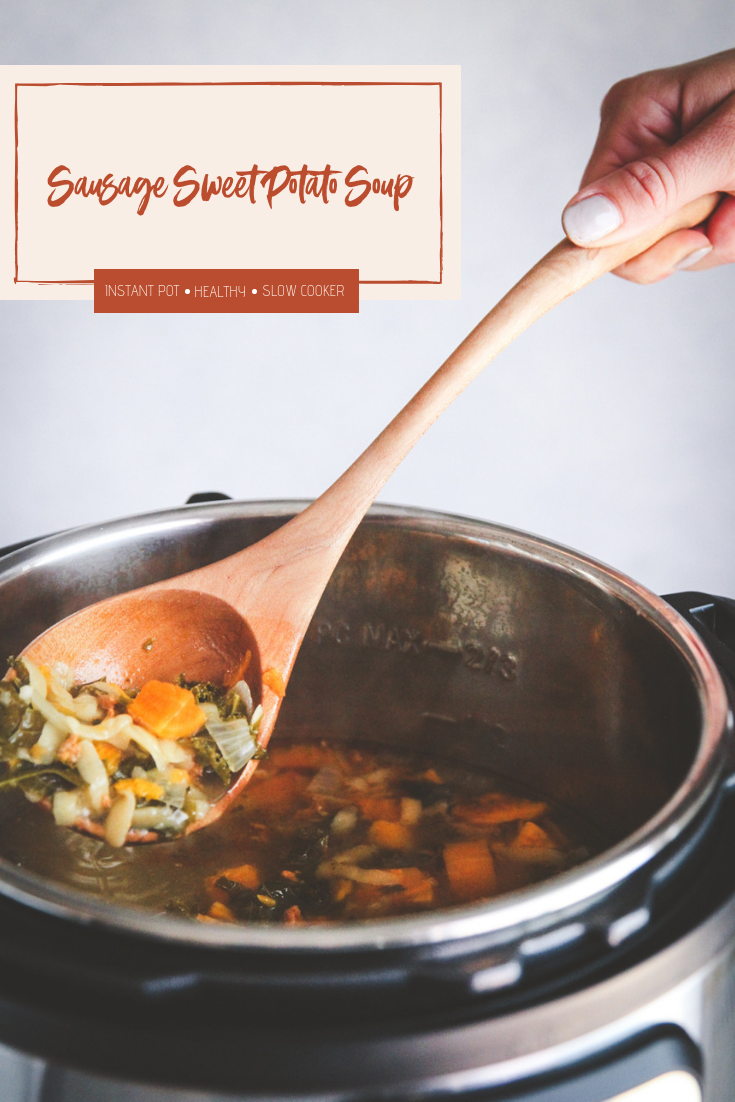 Instant pot sausage sweet potato kale orzo soup, hearty instant pot soup, fall soup recipe, instant pot soup recipe, easy delicious sausage and sweet potato soup