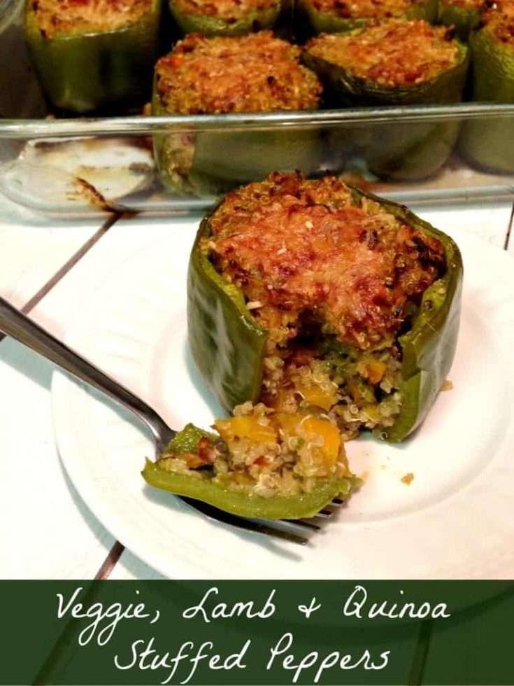 Veggie Quinoa and Lamb Stuffed Peppers