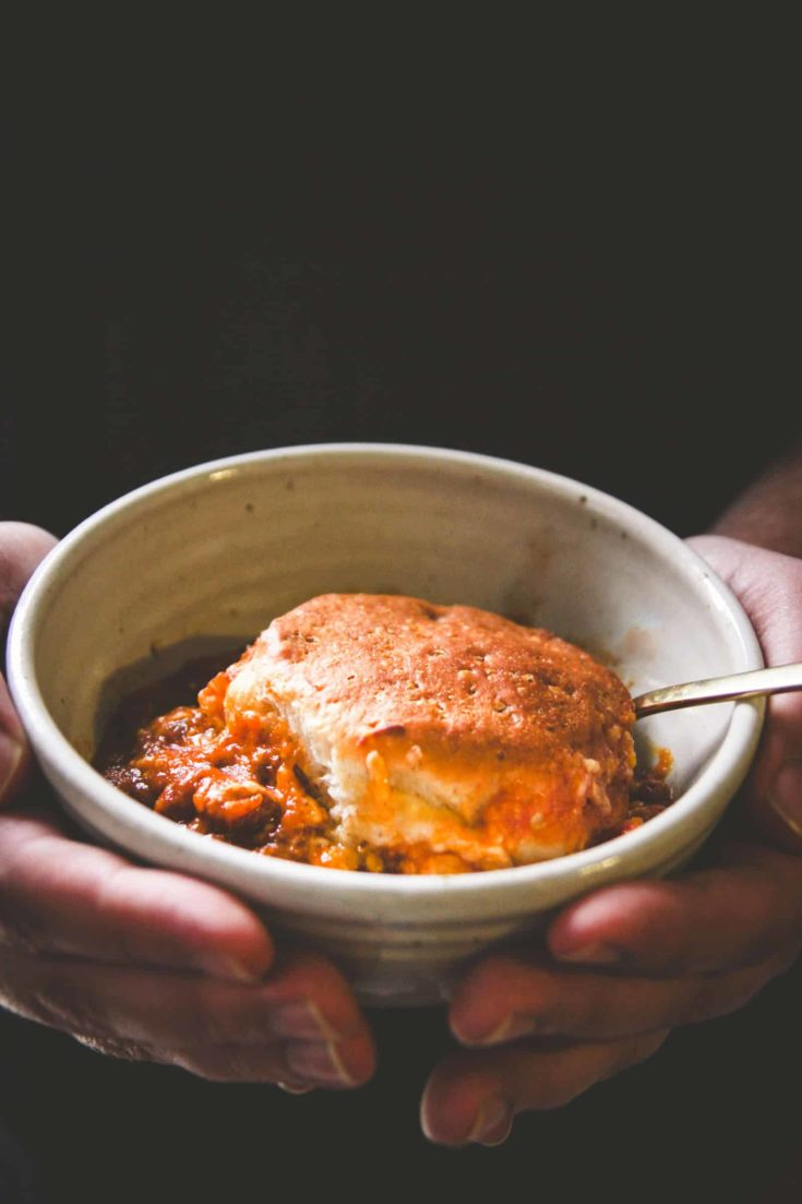5 Ingredient Pumpkin Chili Biscuit Bake