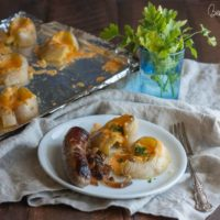 Bangers and smashed potatoes a fun St. Patrick's Day recipe