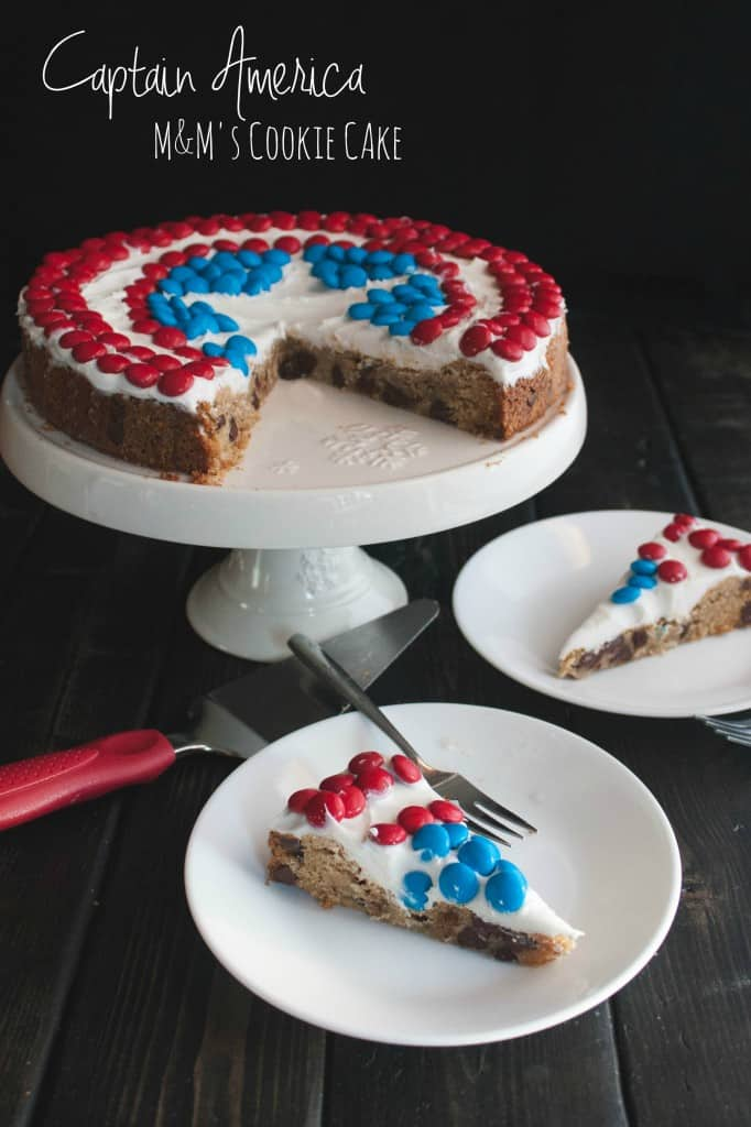 Captain America M&M's Chocolate Chip Cookie Cake