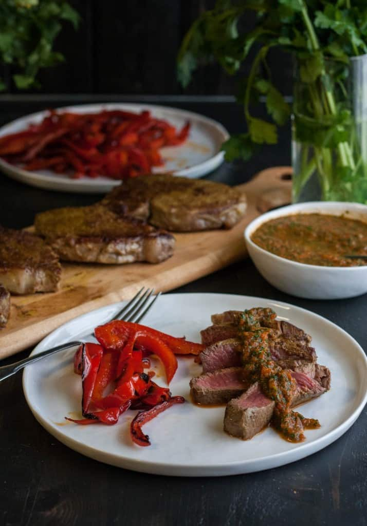Curry Crusted Steak with Roasted Red Pepper Chimichurri