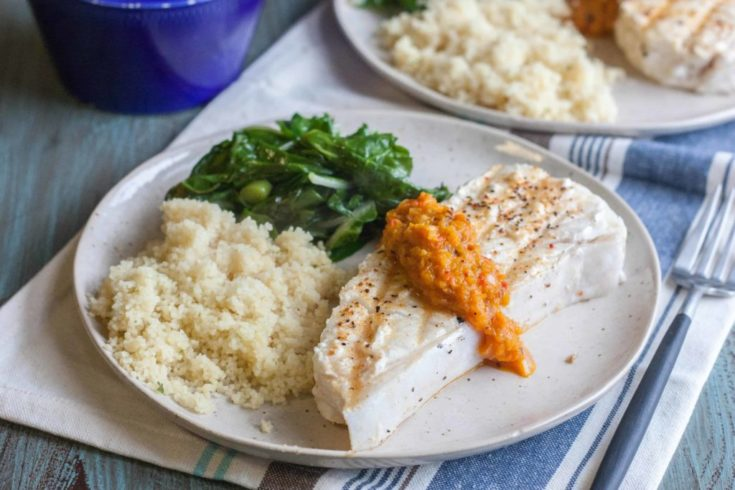 Halibut Steaks with Roasted Pepper Tapenade